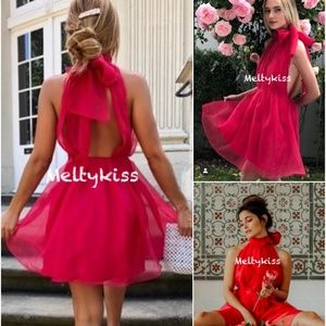 NWT ZARA SS19 FUCHSIA ORGANZA MINI DRESS Sz-L